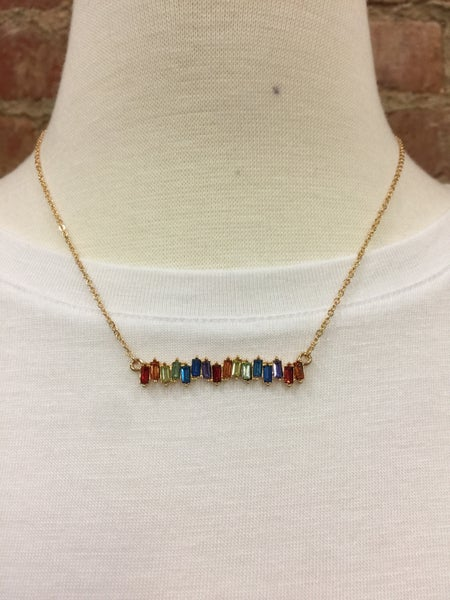Colorful Jeweled Bar Necklace in Gold