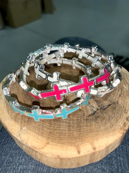 Leave It At The Cross Stretchy Bracelet in Multiple Colors