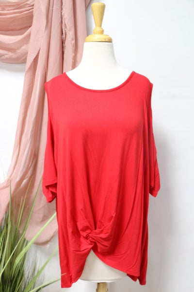 Adore You Cold Shoulder Top with Front Tie Hem in Multiple Colors - Sizes 12-20