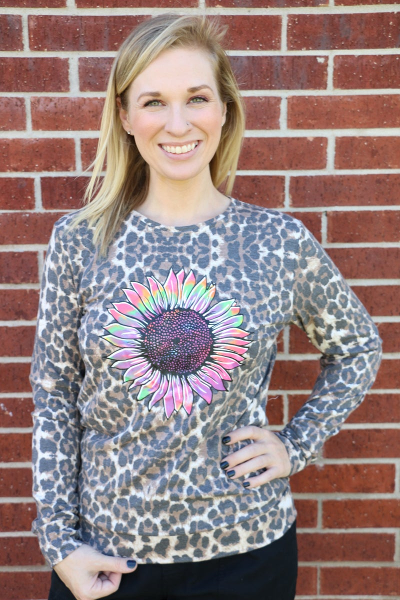 Notice Me Leopard and Tie Dye Sunflower Long Sleeve Top - Sizes 4-20