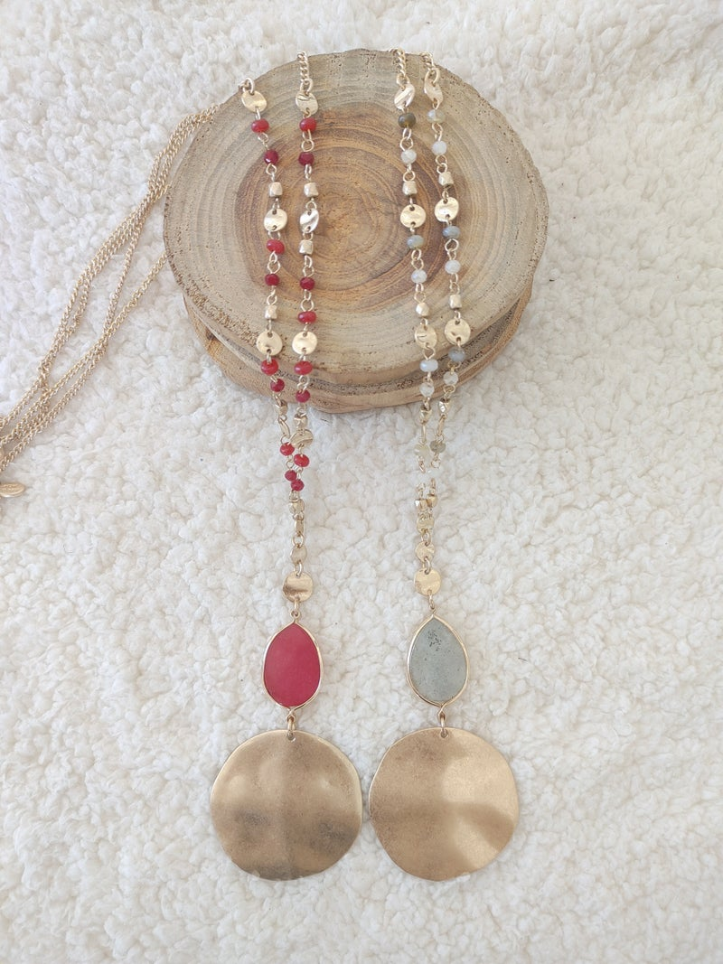 Daydream Long Gold And Beaded Necklace With Stone And Gold Circle Pendant In Multiple Colors