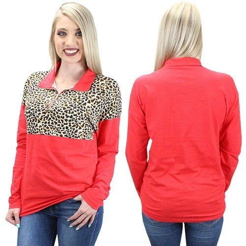 Get Going Leopard Colorblock Pullover with Zipper in Multiple Colors - Sizes 4-20
