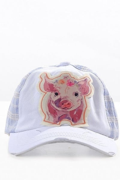 This Little Piggy Ball Cap with Blue Plaid Accents