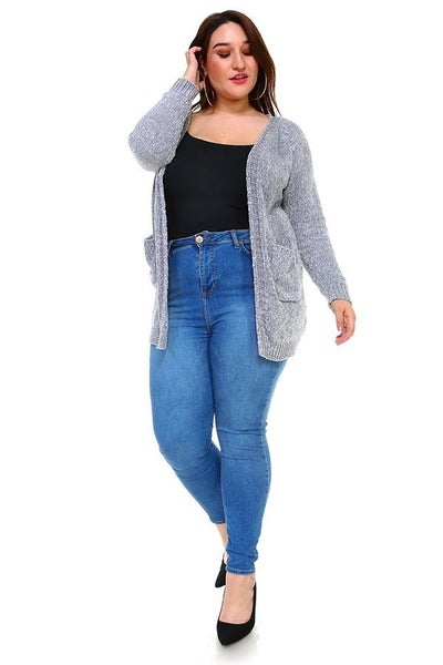 Better Be There Gray Chenille Cardigan with Front Pockets - Sizes 12-20