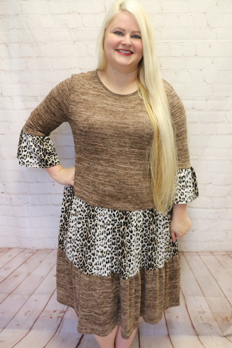 Catch My Fall Two-Toned Leopard Accented Dress in Multiple Colors - Sizes 12-20