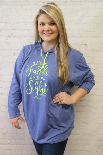 Walk by Faith Heathered Blue Lightweight Hoodie - Sizes 4-18