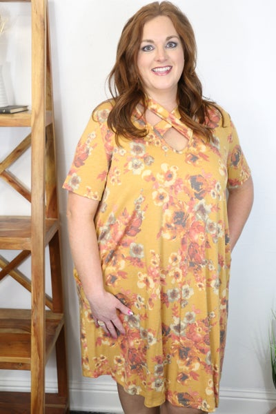 Best Choice Mustard Floral Dress with Criss Cross Neckline - Sizes 12-20