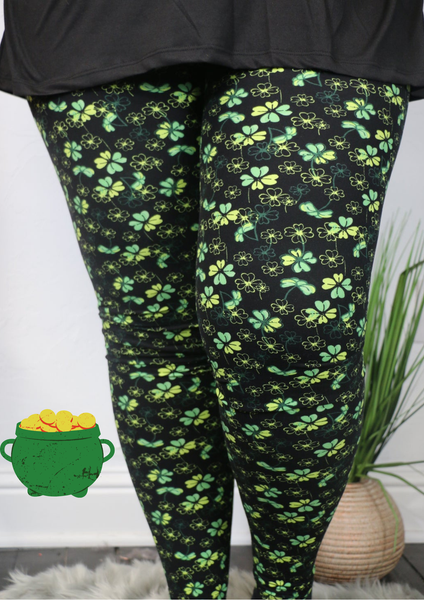 Lucky One Black Leggings With Four Leaf Clover Pattern - Sizes 4-20