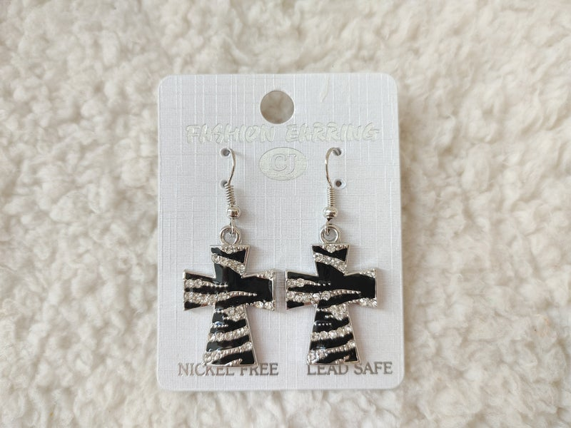 All Night Black And Silver Zebra Cross Earring