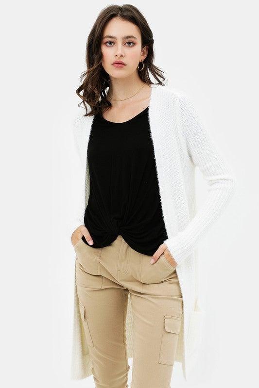 Surround Me White Fuzzy Knitted Cardigan - Sizes 4-10