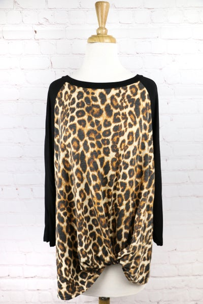 Prowling the Night Leopard Raglan with Knot Detail - Sizes 12-20