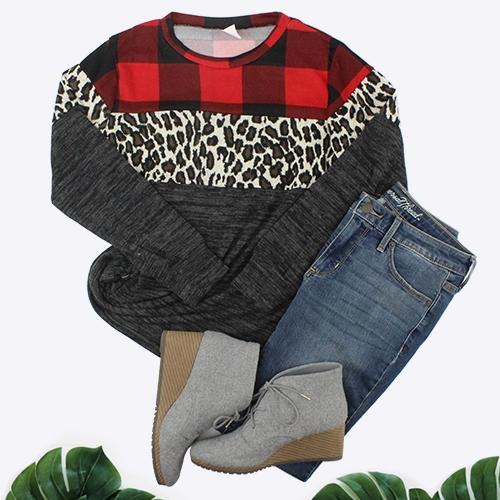 Part of Me Buffalo Plaid and Leopard  Color Block Top - Sizes 4-20