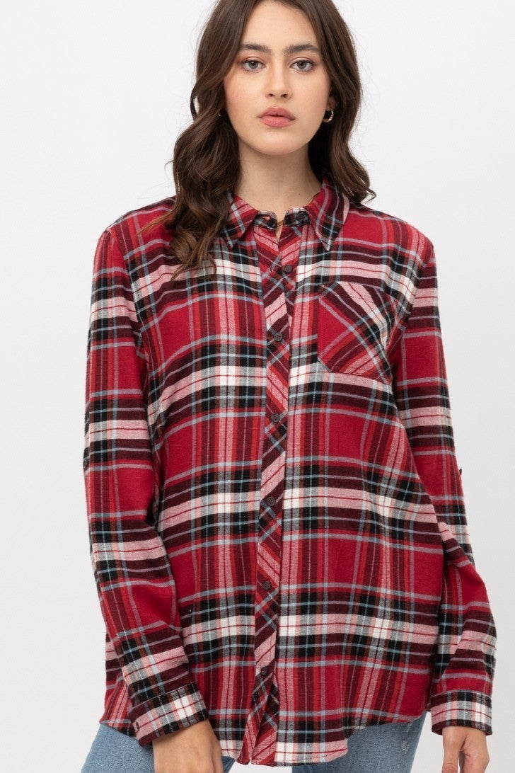 Never Alone Red Button Down Plaid Shirt - Sizes 4-12