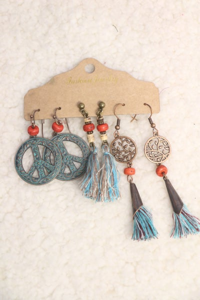 Catch Your Dreams 3 Pack Of Copper And Patina Earrings