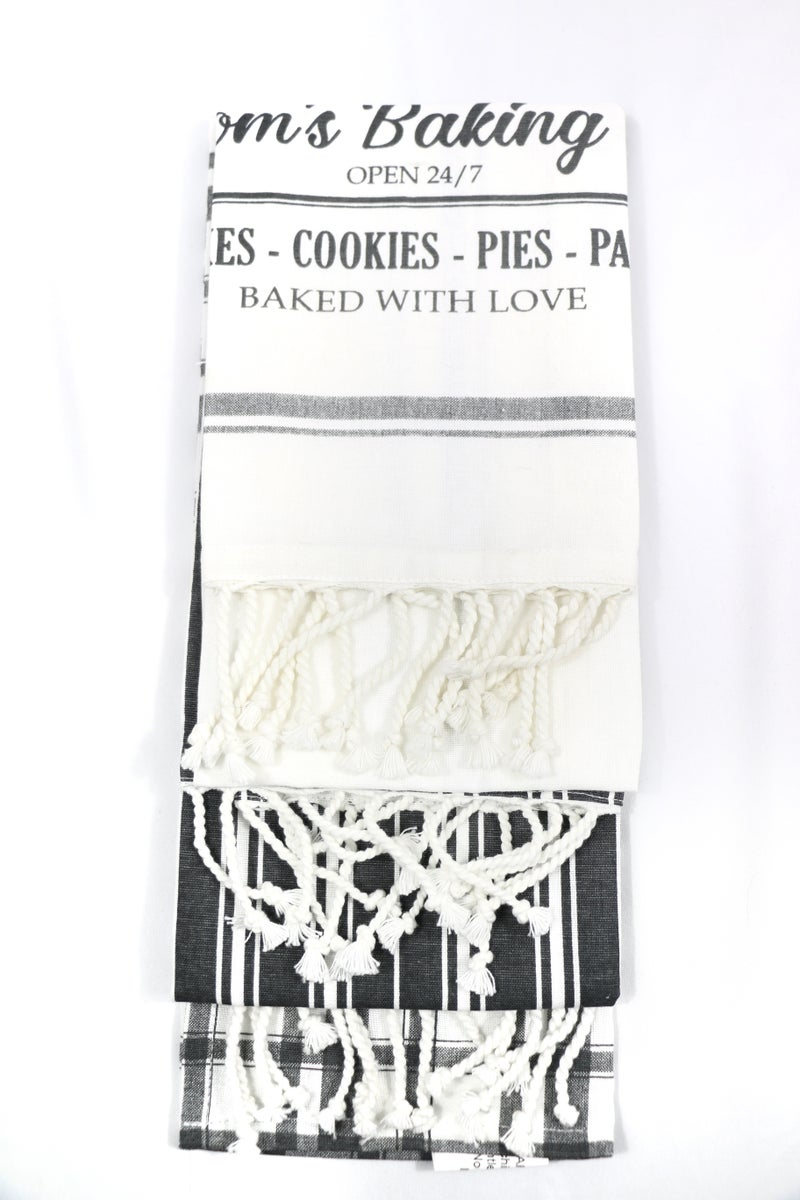 Mom's Baking Co. Set of 3 Black And White Tea Towels With Fringe