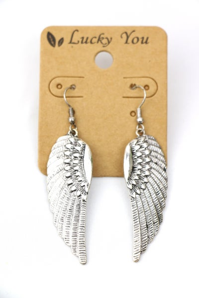 Heaven Sent Silver Metal Angel Wing Earrings