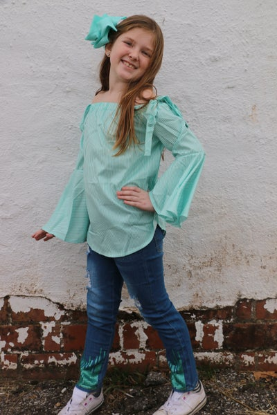 Mint to Be Striped off the Shoulder Top and Sequin Accented Jean Set - Sizes 6M - 8Y