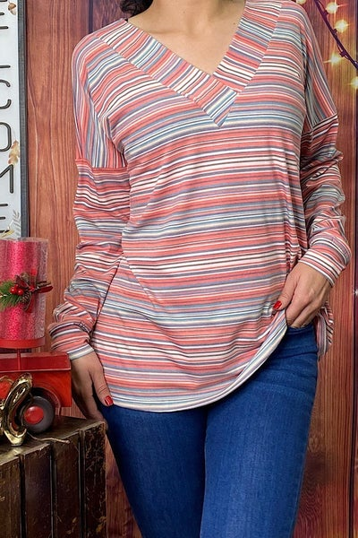 Look Around You Multi-Colored Striped Long Sleeve Top - Sizes 4-20