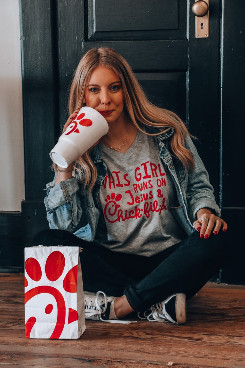 This Girl Runs on Jesus and Chick-fil-a in Multiple Colors - Sizes 4-18
