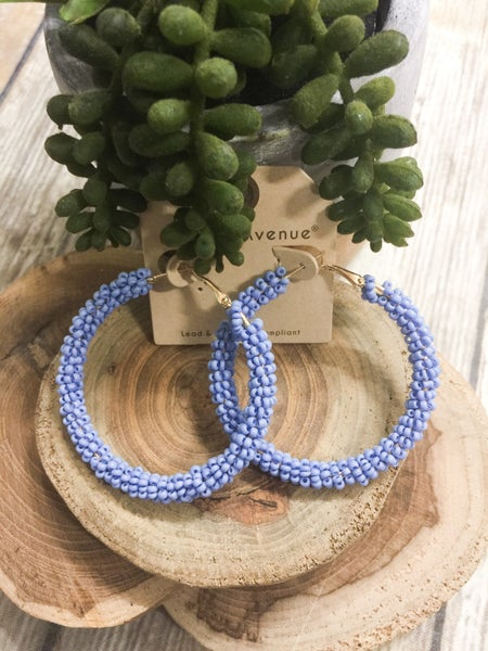 A Touch Of Summer Hoop Seed Bead Earrings - Multiple Colors