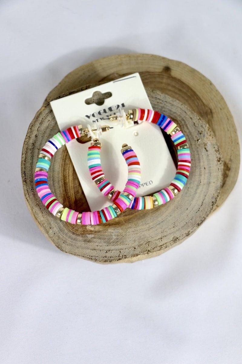 Happy Times Rubber Disc Hoop Earring In Multiple Colors