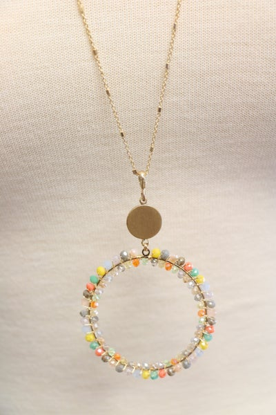 Circle Of Love Long Gold Necklace With MultiColor Beaded Circle Pendant