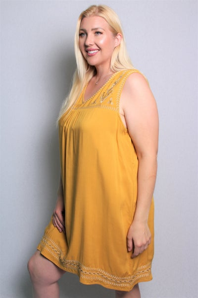 You're the Best Embroidered Mustard Sleeveless Dress - Sizes 12-20