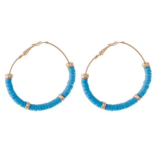 Aqua Beaded Hoop Earrings Featuring Gold Bead Accents