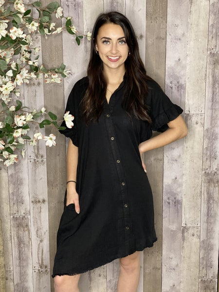 Black Linen Button Down Ruffled Sleeve Dress