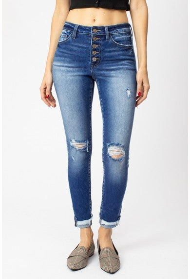 Kancan High Rise Button Fly Ankle Skinny Denim
