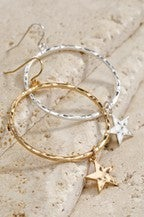 Urbanista Hoop Earrings With Star Charms Silver or Gold