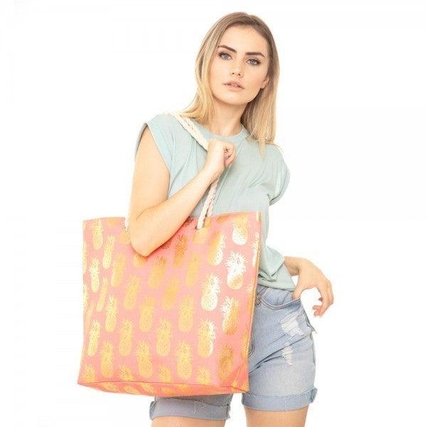 Metallic Pineapple Print Canvas Tote Bag ** 3 Colors**