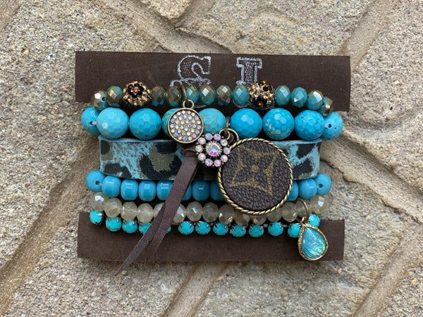 Upcycled Couture Teal & Leopard STACK!