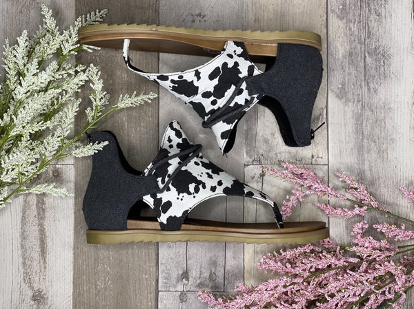 Gypsy Jazz Very G Black & White Cow Print Sandal