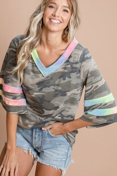 CAMO PRINTED KNIT WITH NEON TIEDYE BANDED TOP