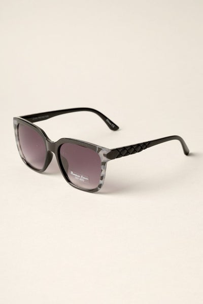Oversized Frame Patterned Temples Sunglasses