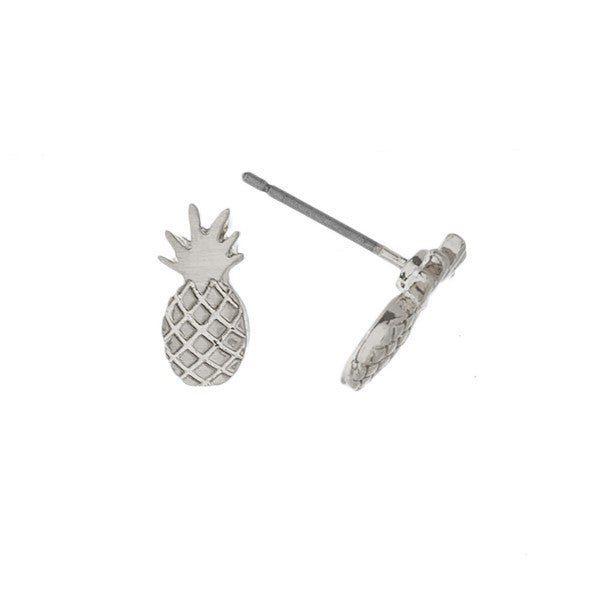 Metal pineapple stud earring Silver or Gold
