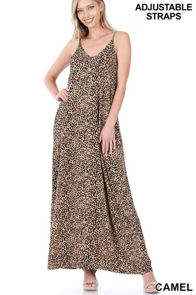 Leopard Print Cami Maxi Dress