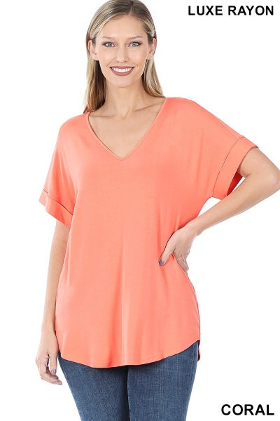 Zenana Coral  Luxe Rayon Short Sleeved V Neck Cuffed Top