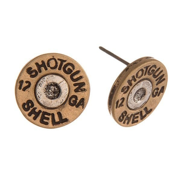 Two tone shotgun shell stud earring Gold or Silver