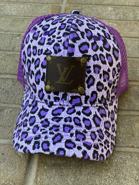 Upcycled Couture Baseball Hat Purple Leopard