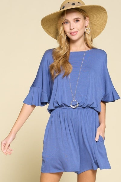 Peek A Boo Denim Blue Modal Romper