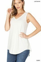Assorted Colors Luxe Rayon Sleeveless V-Neck Hi Low