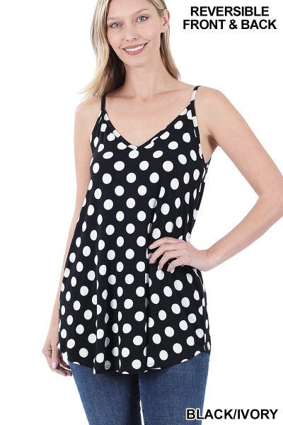 Zenana Black & White Polka Dot Reversible Cami