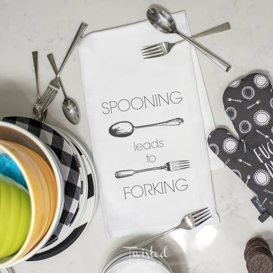Rated XXX Spooning Leads To Forking KITCHEN TOWEL