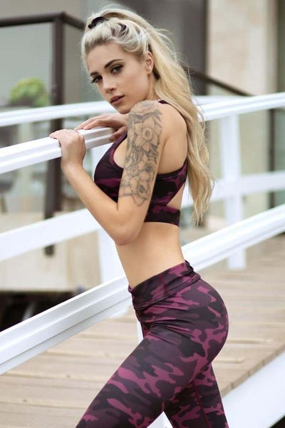 Active Pink Camouflage Work Out Pants