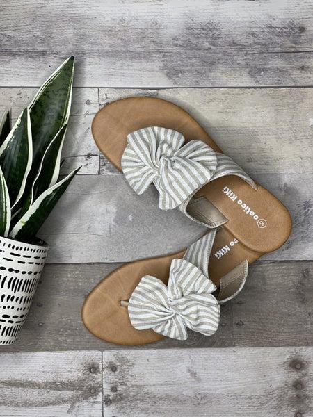 Beige & Cream Stripped Sandals