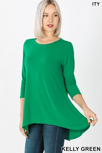 Kelly Green Hi Low ITY Tunic Top