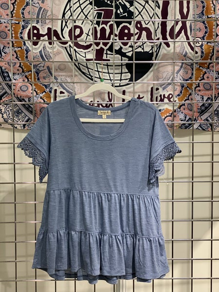 One World Ruffled & Lace Denim Color Top