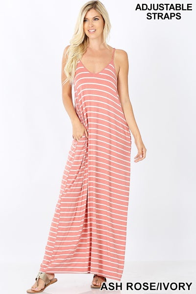 Zenana Dusty Rose  & White Stripped Maxi Dress With Pockets